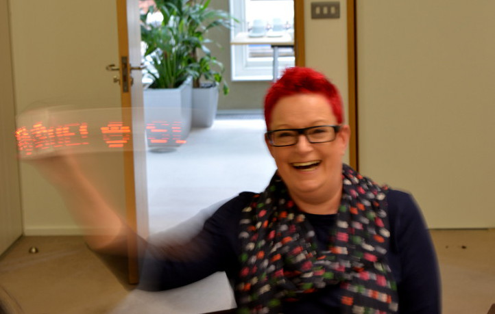 #techmums founder, Dr Sue Black, with the Shrimping persistence of vision project